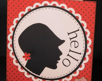 Hello Friendship Card-Friendship Card--Greeting Card-Handmade Card-Silhouette Head-Silhouette