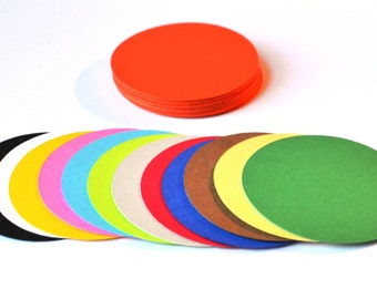 "Circle Die Cuts - Set of 50 - All sizes and colors - Round Die Cuts - Paper Circles - Round - Circles - Die Cuts - 2"" - 3"" - 4"""
