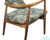 Newly REUPHOLSTERED MCM Danish Mid Century Modern Walnut Lounge Chair in the Style of Craft Associates