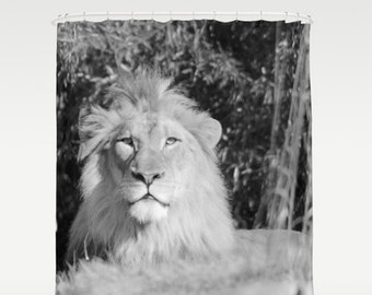 Lion Shower Curtain Bath Decor Animal Kids Wild Photo Black White