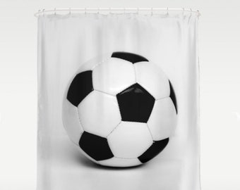 BW Soccer Ball Shower Curtain Girls Bathroom Sports Boys Bath Decor Natural Light Studio