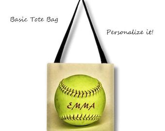 Softball Tote Bag-Custom Softball Bag-Personalized Bag-Cross Body Sports Bag-Softball Overnight Bag-Weekend Tote Bag-Softball Bag-Team Gift
