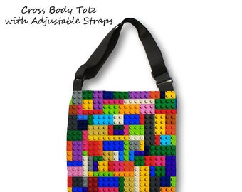 Large Lego Tote Bag-Lego Tote Bag-Toy Tote Bag-Cross Body Bag-Lego Overnight Tote-Adjustable Tote Bag-Weekend Tote Bag-Beach Tote