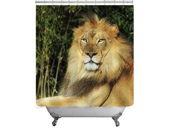 Lion Shower Curtain Safari Decor Bath Animal Kids Wild Photo