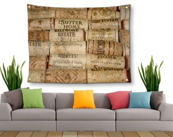 Wine Corks Tapestry-Lightweight Canvas Tapestry-Bar Wall Decor-Fabric Wall Hanging-Neutral Wall Decor-Fine Art Tapestry-Outdoor Tapestry