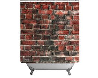 Brick Shower Curtain Industrial Decor Bathroom Guys Wall Masculine Design Architectural Bath