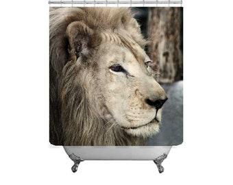 Lion Shower Curtain Animal Decor Bath Kids Wild Photo