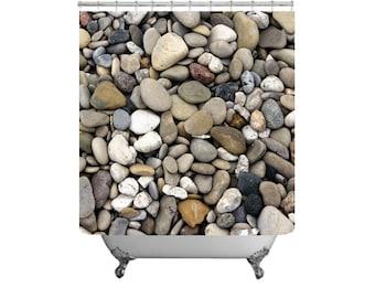 Nature Bath Decor Rocks Shower Curtain Stones 71x74 Pebbles Beach Gray Bathroom Stone