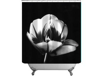 Flower Shower Curtain Tulip Floral Decor Minimalist Bath Photo Master Black White
