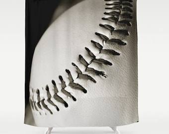 Baseball Shower Curtain Decor Sports Bathroom Masculine Athletic