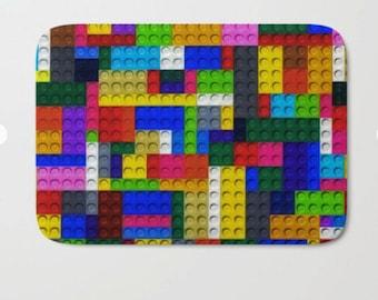 Leg O Bath Mat Kids Bathroom Decor Building Bricks Colorful Decor Microfiber  Mat Foam Mat Floor Mat Non Skid Floor Mat Bathroom Floor Mat