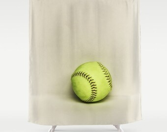 Softball Shower Curtain Girls Bathroom Decor Athletic Bath Sports Dorm Gift Ideas