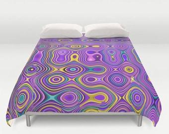Purple Duvet Cover-Purple & Yellow Bedding-Funky Duvet Cover-Twin Duvet-Double Duvet-Queen Duvet-King Duvet-Abstract Bedding-Dorm Decor