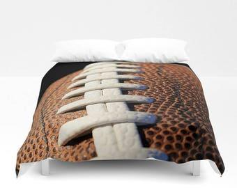 Football Duvet Cover-Sports Duvet-Brown & White Bedding-Photo Duvet Cover-Sports Bedroom Decor-Boys Bedding-Twin/Full/Queen/King Duvet Cover