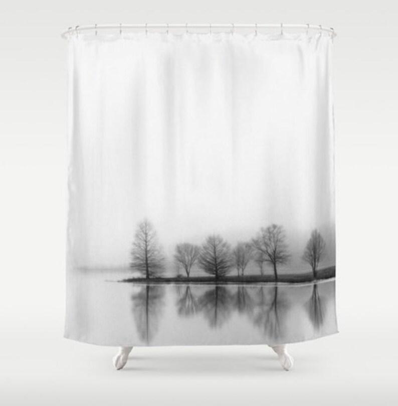 Minimalist Shower Curtain Black White Fabric