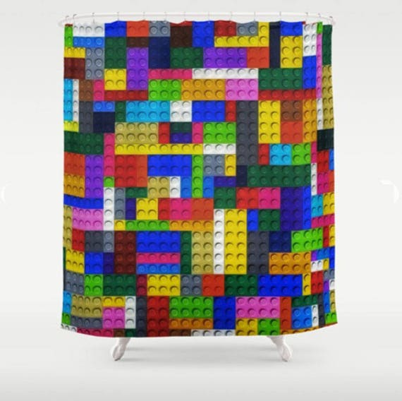 Lego Shower Curtain Lego Bathroom Kids Bathroom Decor Kids Shower Curtain Geometric Shower Curtain Toy Bricks Colorful Bath Decor Gift Ideas