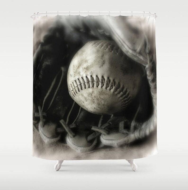 Softball Bathroom Shower Curtain Black Off White