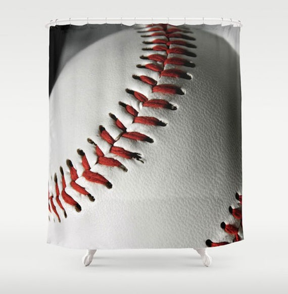 Baseball Shower Curtain Sports Bathroom Decor Boys