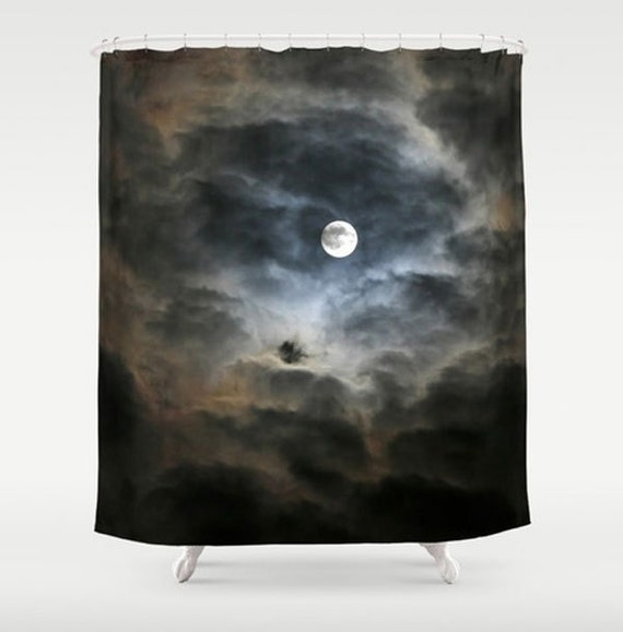 Multi-size 12 Hook Moon Night Sky Howls At Wolf Pattern Shower Curtain Polyester
