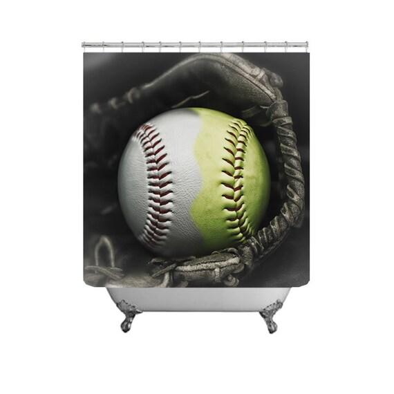 Baseball Softball Shower Curtain Half