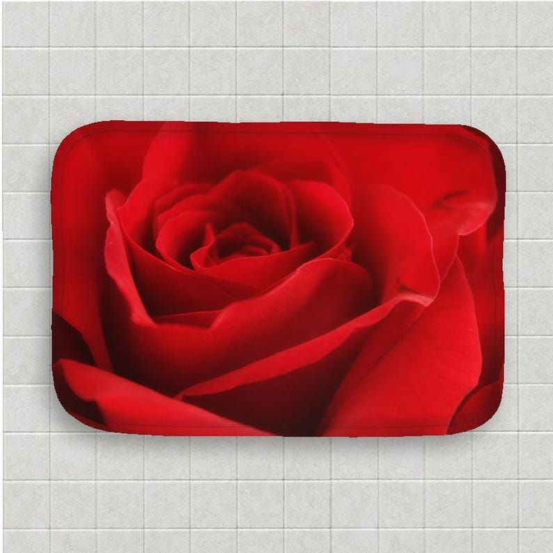 Rose Bath Mat Rose Bath Mat Rose Bathroom Red Bathroom Decor Red Floor  Mat Feminine Bath Decor Flower Bath Decor Kitchen Floor Mat