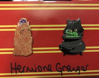 Orange cat and Kitty/Cauldron lapel pins