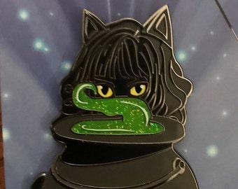 Cat Girl with Cauldron Lapel Pin.