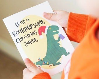 personalised roarsome dinosaur christmas card for kids childrens christmas card dinosaur christmas card roarsome christmas personal