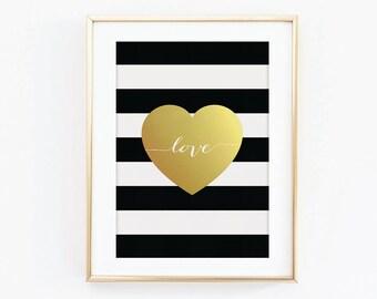 Gold Love Heart Print - Gold Effect Print - Black and White Print - Typography Print - Love Print - Heart Print