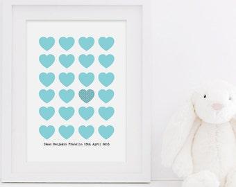 New Baby Love Heart Print - New Baby Print - Baby Boy Print - Baby Girl Print - Personalised Print - Nursery Print - Custom Baby Print