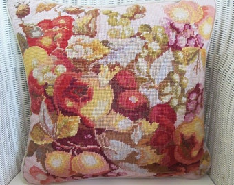 Plump vintage needlepoint cushion/pillow~Glorious fruits in rich, glowing colours~Complete with duck feather insert