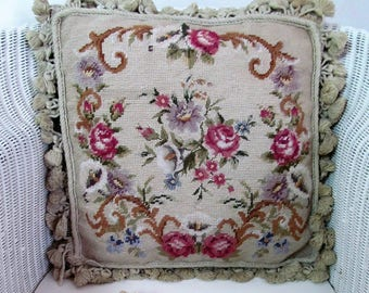 "Absolutely glorious vintage needlepoint cushion~Gros & petit point roses and arum lilies~Complete with 18""x18"" duck feather pad"