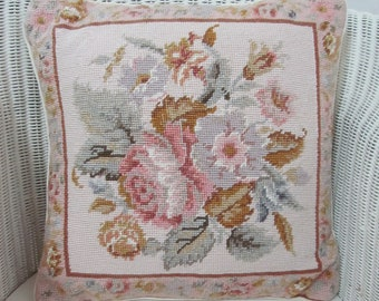 Prettiest roses!~Vintage needlepoint pillow/cushion in the softest Aubusson shades~Divine finishing touch for any beautiful home