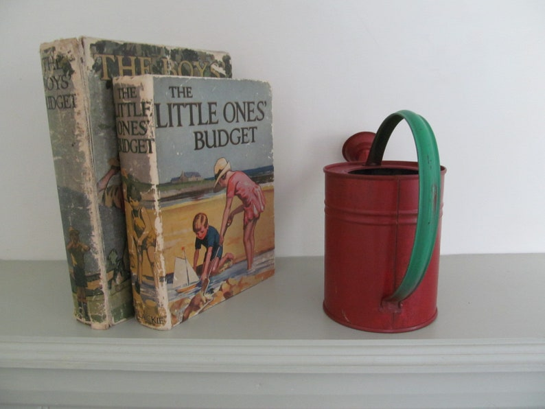 Cutest vintage tinplate toy watering can~Red and green original paintwork~Lovely shape~A sweet childhood treasure