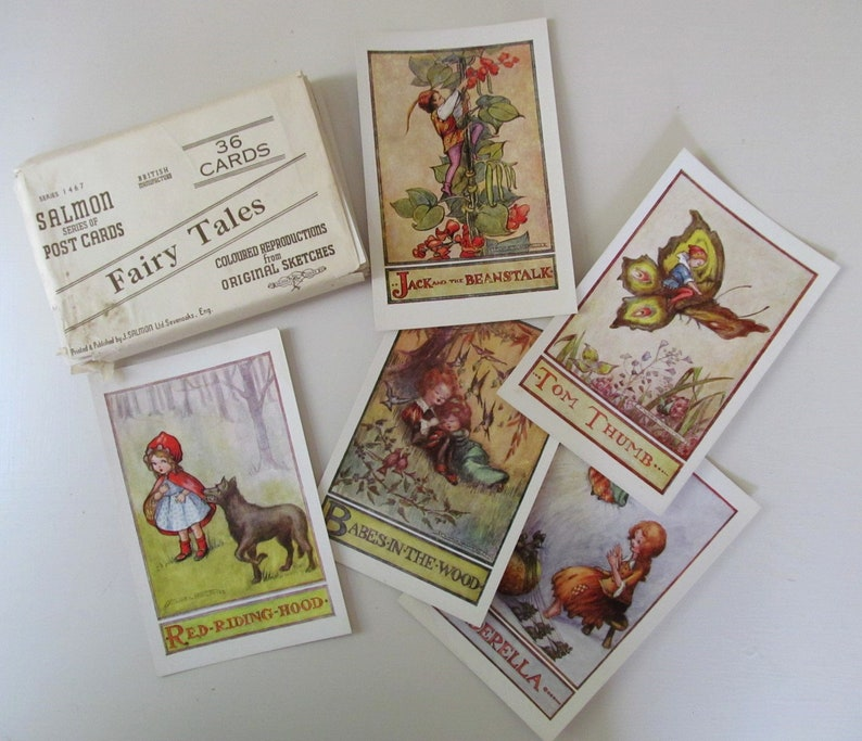 Suberb collection of 36 rare UNUSED VINTAGE Fairy Tale POSTCARDS illustrated by Flora White /& printed by J Salmon Ltd