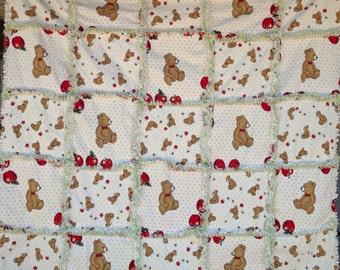 Teddy Bear patchwork raggy patchwork throw, fun toddler present or shower gift, small picnic blanket.