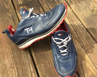 e9df2d598332e6 Vintage 90s TOMMY HILFIGER SNEAKERS leather tennis shoes size womens 8.5