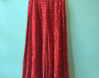 Vintage 90s does 70s EXPRESS MAXI SKIRT high waisted floral button up open front slit