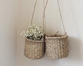 Petit Ava hanging basket with long handle, hanging straw basket, hanging planter, planter basket, storage basket, kitchen storage