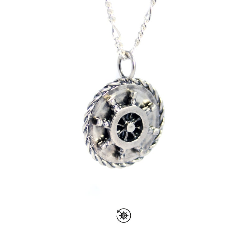 Ship wheel necklace pendant pirate necklace boat necklace image 0