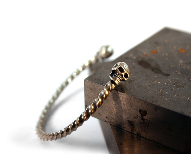Silver Skull bangle bracelet cuff Biker jewelry bracelets image 0