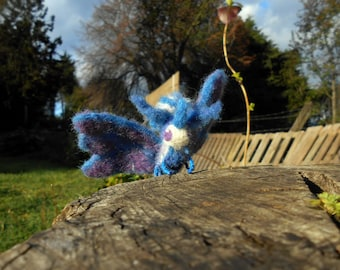 Needle felted blue moth - World of Warcraft companion (unofficial) - Game pet geekery