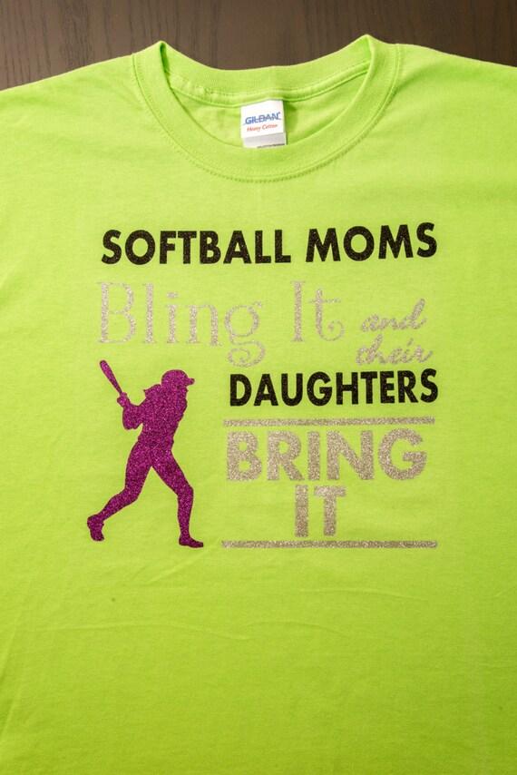 Rhinestone Iron on Transfer Mom Moms Bling It SOFTBALL Daughters Bring It