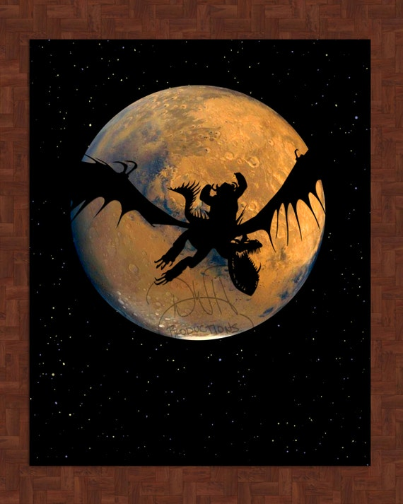 Hookfang Snoutlout Mars Art Print How To Train Your Dragon 8x10 Wall Print Flying Starry Night Stars Fantasy