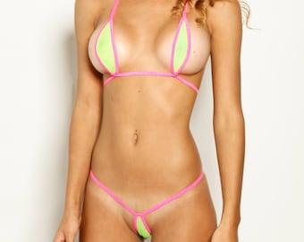 820a7466ced Bitsy's Bikinis Single Tie Teardrop Bikini - Solid Neon Green Fishnet with  Neon Pink String