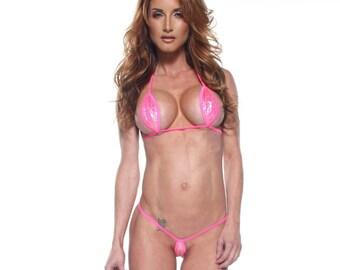 109d3de3487 Bitsy's Bikinis Sparkly Holographic Pink Mini Teardrop Micro G-String  Bikini 2pc Thong Minimal Coverage Extreme Modeling Neon Pink String