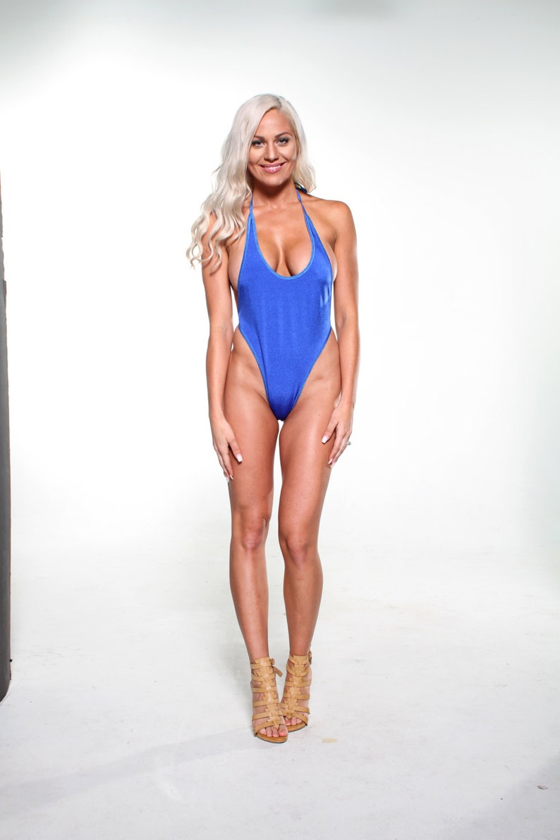 8a8c0430ef5b Solid Electric Blue Sexy Monokini Micro G-String Thong Bikini