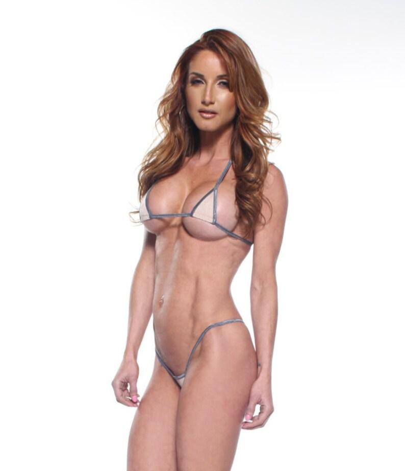 4c53d140c1 Solid Nude Beige Euro Style Micro G-String Bikini 2pc Mini