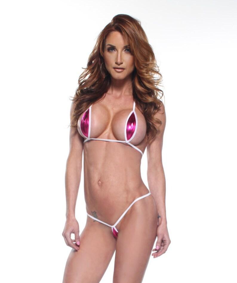44c0dc48da Bitsy's Bikinis Solid Pink Foil Mini Teardrop Extreme   Etsy