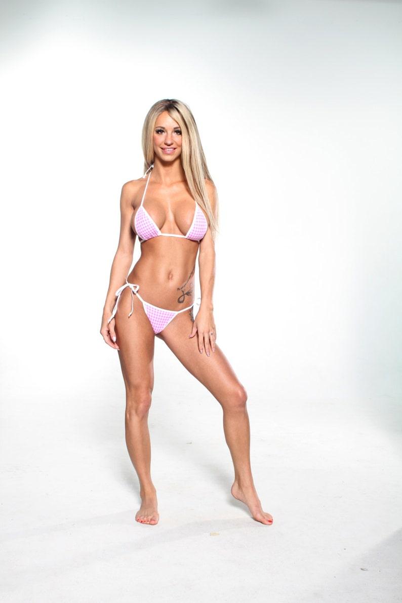 62c4c5b1c18 White and Pink Gingham Sexy Scrunch Butt Bikini 2pc Tie Side | Etsy